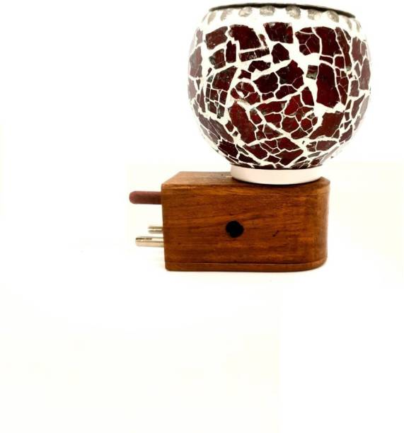 MDTL Beautiful Ceramic Kapoor Dani/Aroma Oil Burner Cum Night Lamp with Switch (in-Built on/Off Button for Heating) WOODEN sturdy plug-Design on The Kapoordani May Vary Wooden, Glass Incense Holder