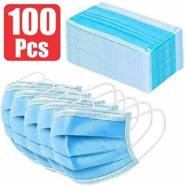 RA ACCESSORIES 3 Ply Disposable Face Masks Germ Dust Protection Three Layer, Melt-Blone Fabric Surgical Face Masks/ Surgical Masks/ Mouth Masks/ Dust Mask 3Ply - (Pack of 50) Surgical Mask With Melt Blown Fabric Layer