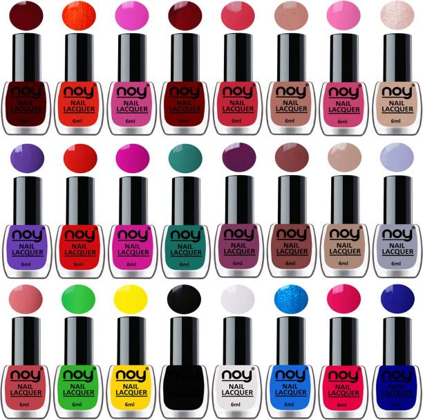 NOY Shine Nail Paint Polish Combo Set of 24 in Wholesale Price Multicolor Bulk Rate Nail Lacquer Combo No-03 Violet,Brown,Nude,Light Grey,Pink,Dark Wine,Nude,Orange,Pink and Many More