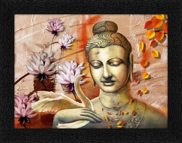 ADS Art Poster Buddha With Swan Painting with Synthetic Frame Digital Reprint 11 inch x 14 inch Painting