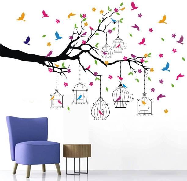 Wallsticks Tree – Birds - Cage –Branch - Flowers - Colourful - Decorative - Wall Sticker - WS050