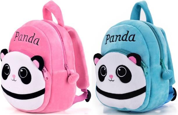 DZert Kids School Bag Panda Soft Backpacks Cartoon Baby Boys/Girls (Pack of 2) Plush Bag