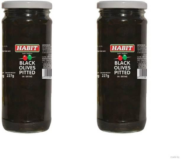 HABIT Black Pitted Olives in Brine, 430g (pack of 2) Olives