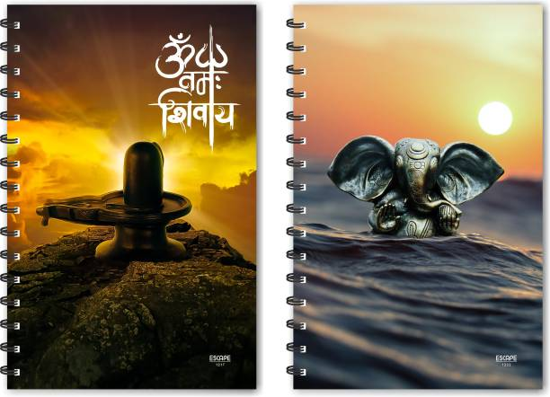 ESCAPER Om Namay Shivay & Metal Ganesha on Water Designer Notebook, Designer Diaries, Notepads - Pack of 2 Qty A5 Notebook Ruled 160 Pages