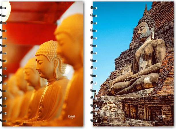 ESCAPER Lord Buddha & Lord Buddha on Piramid Designer Notebook, Designer Diaries, Notepads - Pack of 2 Qty A5 Notebook Ruled 160 Pages