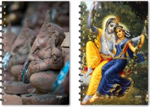 ESCAPER Mud Ganesh & Radha Krishna on Jhula Designer Notebook, Designer Diaries, Notepads - Pack of 2 Qty A5 Notebook Ruled 160 Pages