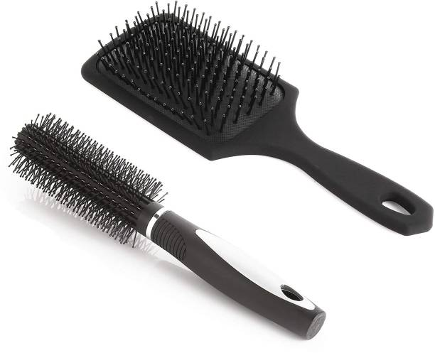 Bestone Combo of Cushion Paddle Hair Brush and Round Hair Comb Brush with Soft Nylon Bristles for Women and Men