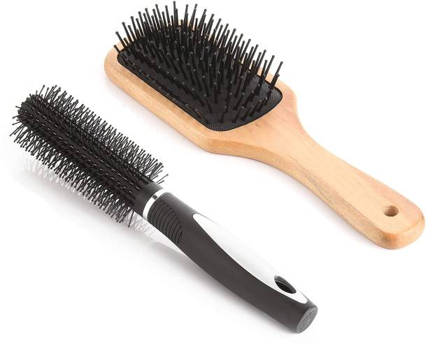 Bestone Combo of Wooden Paddle Hair Brush and Round Hair Comb Brush with Soft Nylon Bristles for Women and Men