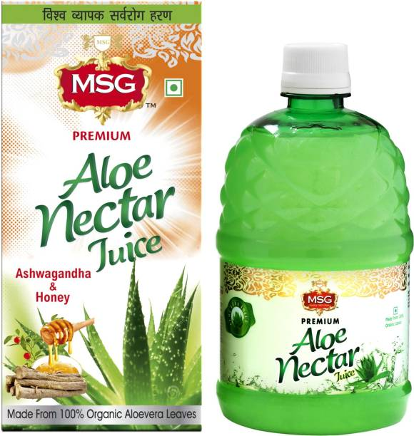 MSG Aloevera Juice with Ashwagandha and Honey (Made From 100% Organic Aloe Vera Leaves) (Pack of 12,Full Box)