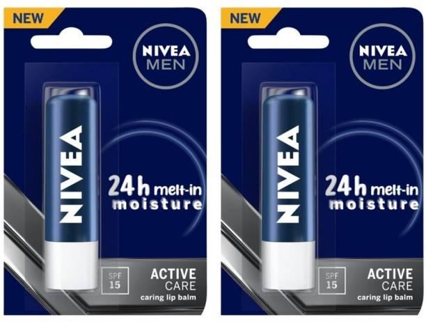 NIVEA Men Active Care Lip Balm, SPF 15, 4.8g (Pack of 2) Original
