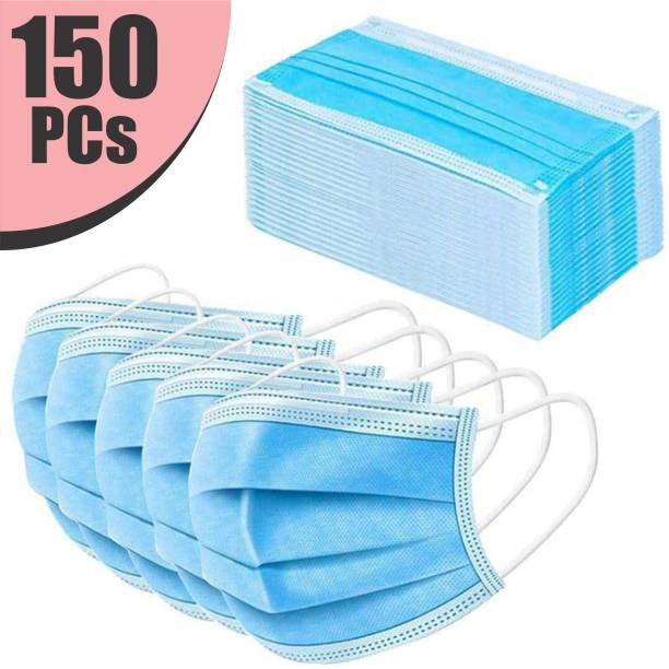 VeBNoR 150 Units Disposable 3 Ply Pharmaceutical Breathable Pollution Face Mask Respirator with 3 Layer Surgical For Men Women Kids 3 Ply Surgical Mask (150 Piece) Surgical Mask