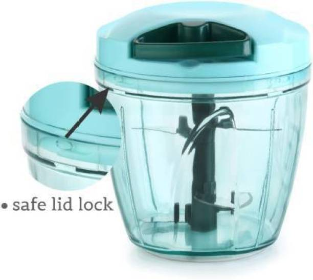 THUNDERFIT 900ML Jumbo Vegetable Chopper/ Cutter, Whisker/ Onion / Food / Garlic / Chilli / Salad/ Hand/ Dry Fruit/ Cutter/ Dicer/ Dori /Non Electric Vegetable & Fruit Chopper 900 ml Purple Chopper Vegetable & Fruit Chopper (1 chopper + 5 Stainless Steel Blade with, Whisker Blade) Vegetable & Fruit Grater & Slicer