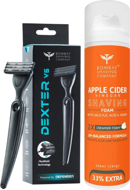 BOMBAY SHAVING COMPANY Shave Care Value Pack with Dexter V6 Shaving Razor and Apple Cider Vinegar Shaving Foam with Apple Cider Vinegar, Salicylic Acid, Honey and 2X Creamier Formulae for Superior Glide and Protection 266 ml (33% Extra) (266 g)