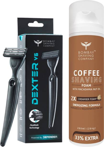 BOMBAY SHAVING COMPANY Shave Care Value Pack with Dexter V6 Shaving Razor and Coffee Shaving Foam with Coffee Extracts, Macadamia Nut Oil, Olive Oil and 2X Creamier Formulae for Superior Glide and Protection 266 ml (33% Extra) (266 g)