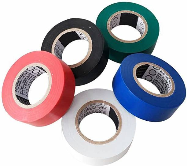 Rauma Plastic Polymer Tape Electric_Tape_Multicolor_(Pack of 5)