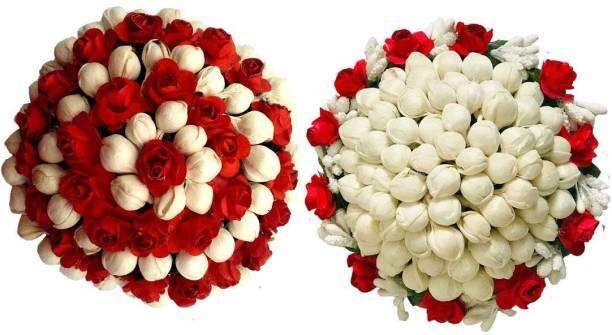 Maahal Bun Juda Maker Flower Gajra Hair Accessories For Women and Girls Multicolor Pack-02 Bun
