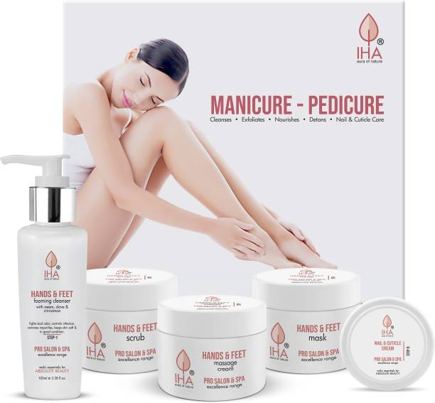 IHA Herbal Manicure and Pedicure Kit - Soothing and Refreshing Pedicure Manicure Spa Kit, Hand and Foot Care Cream Kit (Combo of 5)
