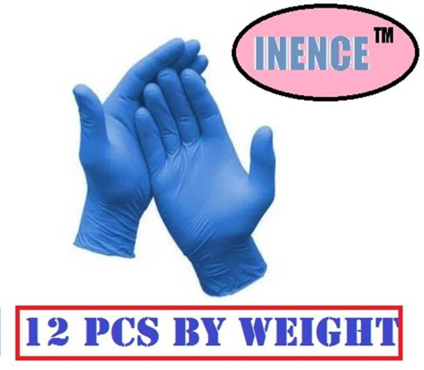 INENCE Disposable NITRILE Gloves Hand Protection Rubber Examination Glove for Hospital, Clinic, Sanitary & Kitchen (Pack of 12, Medium) Nitrile Examination Gloves