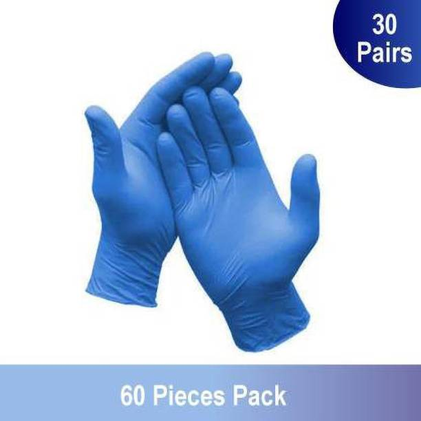 Mehatas Safe Disposable Nitrile Gloves Medical Grade Hand Protection Rubber Glove for Hospital, Clinic, Sanitary & Kitchen (Pack of 60 by Weight) (Medium) Nitrile Surgical Gloves