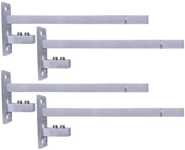 ATLANTIC F Type Glass Shelf Bracket 8 inch (Stainless Steel, Silver Matt Finish, Adjustable 6/8/10/12 mm, Pack of 4 Piece) 19.3CM Shelf Bracket