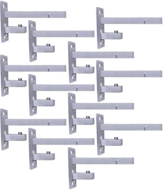 ATLANTIC F Type Glass Shelf Bracket 4 inch (Stainless Steel, Silver Matt Finish, Adjustable 6/8/10/12 mm, Pack of 12 Piece) 9CM Shelf Bracket