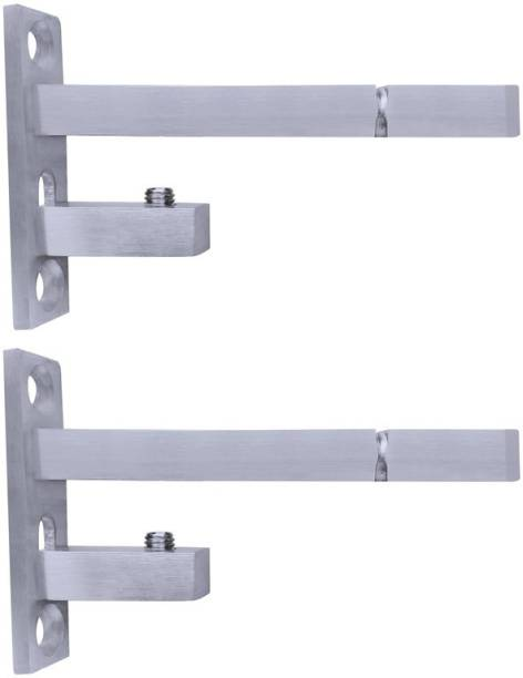 ATLANTIC F Type Glass Shelf Bracket 4 inch Stainless Steel Silver Matt Finish Adjustable 6/8/10/12 mm Pack of 2 Piece 9CM Shelf Bracket