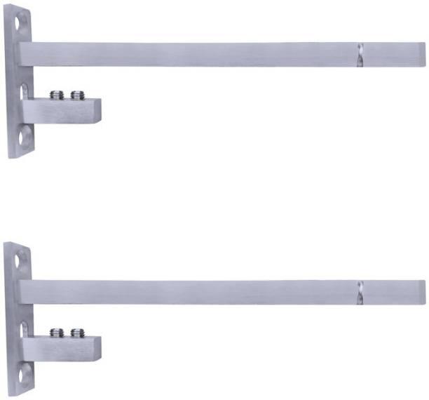 ATLANTIC F Type Glass Shelf Bracket 8 inch (Stainless Steel, Silver Matt Finish, Adjustable 6/8/10/12 mm, Pack of 2 Piece) 19.3CM Shelf Bracket