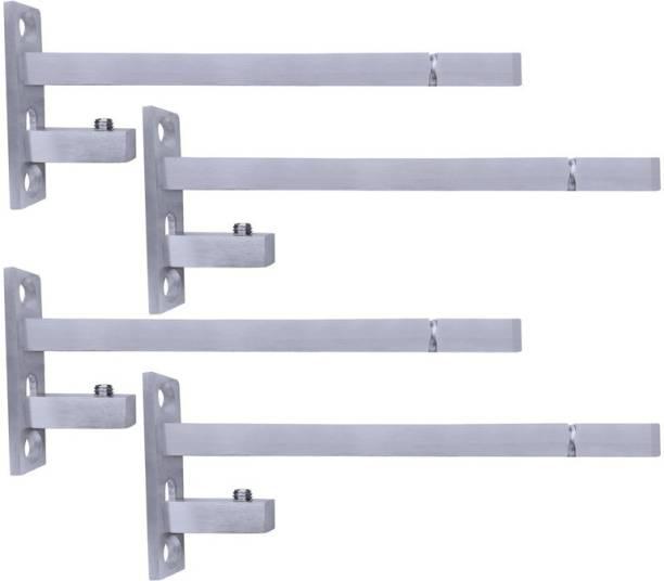 ATLANTIC F Type Glass Shelf Bracket 6 inch (Stainless Steel, Silver Matt Finish, Adjustable 6/8/10/12 mm, Pack of 4 Piece) 14CM Shelf Bracket