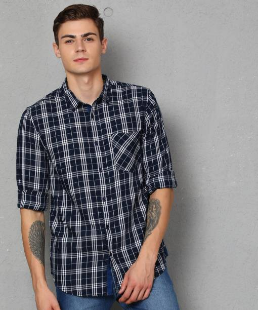 METRONAUT Men Checkered Casual Dark Blue, White Shirt