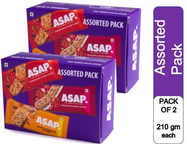 ASAP Granola Bar Assorted Offer Combo | 2 x Pack of 6 assorted Energy bars | 2 Dark Choco + 2 White Choco + 2 Caramel Snack Bars per pack |Rolled Oats & Nuts Bar in 3 Delicious Flavours| Rich in Fibre & Vitamins |High Protein| Healthy Snack bar with no added preservatives | No added colour