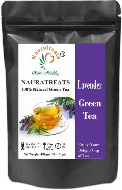 Nauratreats Lavender Green Tea Signature Blend | Green Loose Leaf Herbal Tea 100 gm (40 cups) Lavender Green Tea Pouch