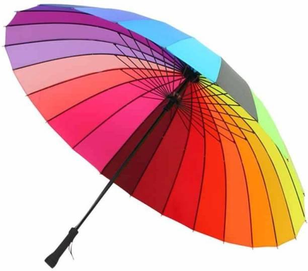 broccolin Rainbow Colour 16 Ribs Nylon Storm Protector Straight Umbrella rain and Sun Protect (Multicolour,X Large) Umbrella