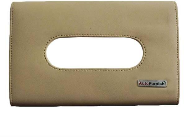 AutoFurnish PU Leather Tissue Box Cover Holder with Single Layer Strap for Car Headrest/Armrest/Visor - Beige Vehicle Tissue Dispenser