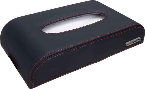 AutoFurnish Premium Softpik PU Leather Tissue Box Holder - Black-Red Vehicle Tissue Dispenser