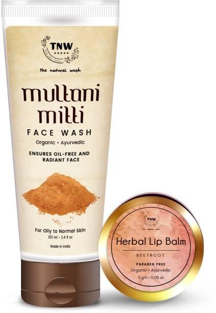 TNW - The Natural Wash Multani Mitti Face Wash and Beetroot Lip Balm Combo