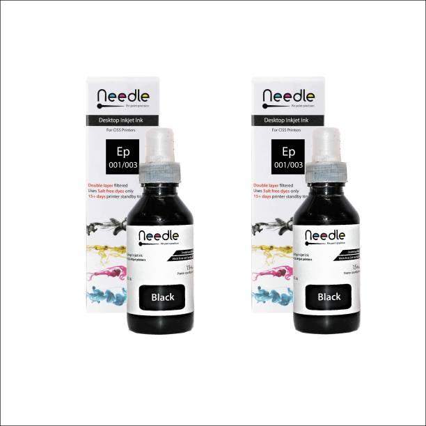 Needle 2 x 100ml Needle Ep 001/003 compatible with Epson ink tank inkjet L1110, L1455, L3100, L3101, L3110, L3115, L3116, L3150, L3151, L3152, L3156, L4150, L4160, L5190, L6160, L6170, L 6190 Black - Twin Pack Ink Bottle