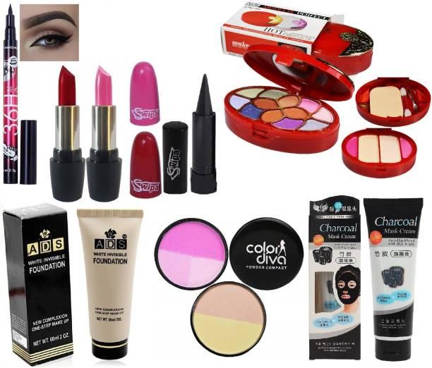 SWIPA Pink Red Lipstick+Makeup Kit+36Hrs Eyeliner+Kajal+Charcoal+Foundation+Compact(EF254FG)