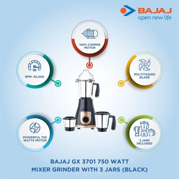 BAJAJ GX 3701 750 W Mixer Grinder (3 Jars, Black, Gold)
