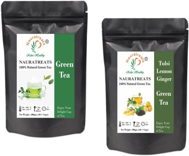 Nauratreats Green Tea Loose Leaf for Weight Loss (100g) & Tulsi Lemon Ginger Green Tea (100g) Tea Pack of 2 Tulsi, Lemon, Ginger Green Tea Pouch