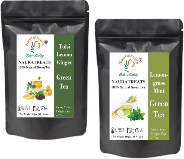 Nauratreats Tulsi Lemon Ginger Green Tea (100g) & Lemongrass Green Tea for Weight Loss (100g) Tea Pack of 2 Tulsi, Lemon, Ginger, Lemon Grass Green Tea Pouch