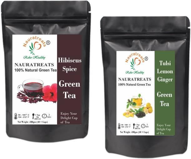 Nauratreats Hibiscus Spice Herbal Green Tea (100g) & Tulsi Lemon Ginger Green Tea (100g) Tea Pack of 2 Green Tea Pouch