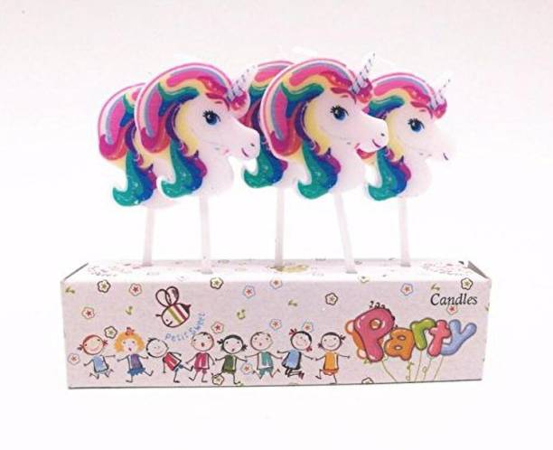CAMARILLA Unicorn Theme Candles for Birthdays - Set of 5 for Unicorn Birthday Decoration Candle