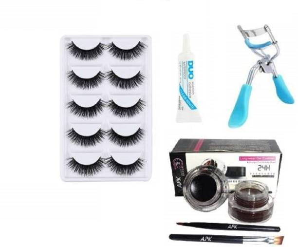 Miss Hot 5 Pair Eyelash,Eyelash Glue,Eyelash Curler, Gel Eyeliner Black and Brown pack of 5