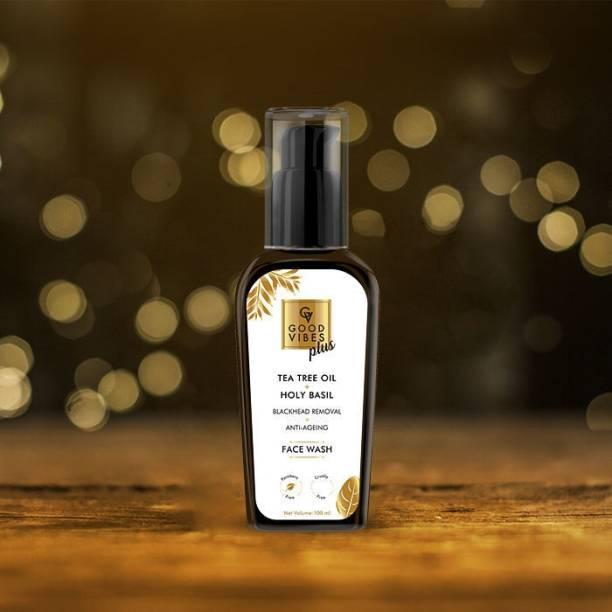 GOOD VIBES Plus Blackhead Removal + Anti-Ageing  - Tea Tree Oil + Holy Basil Face Wash