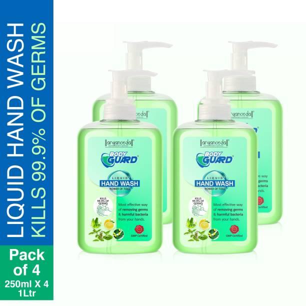 Aryanveda Herbals Bodyguard Liquid Hand Wash 250 ML Per Bottle (Pack of 4) Hand Wash Bottle