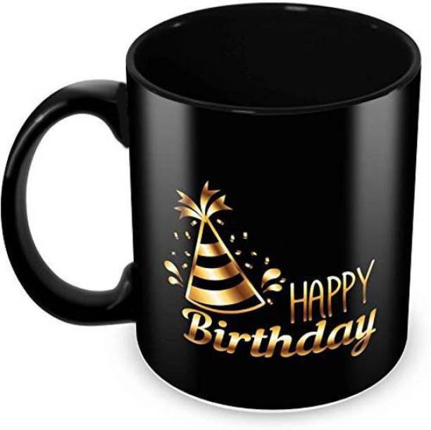 """Youth Style """"Happy Birthday"""" Printed Full Black Coffee and Tea Ceramic- 11Oz Black Gift for Birthday Kids,Girls,Boy's, Friends, Lover,Sister,Wife, Husband, Any Person beutyfull blk927 Ceramic Coffee Mug"""