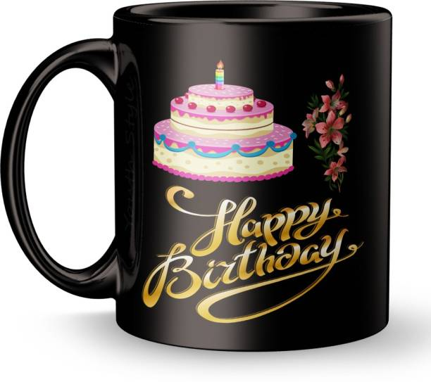 """Youth Style """"Happy Birthday"""" Printed Full Black Coffee and Tea Ceramic- 11Oz Black Gift for Birthday Kids,Girls,Boy's, Friends, Lover,Sister,Wife, Husband, Any Person beutyfull blk926 Ceramic Coffee Mug"""