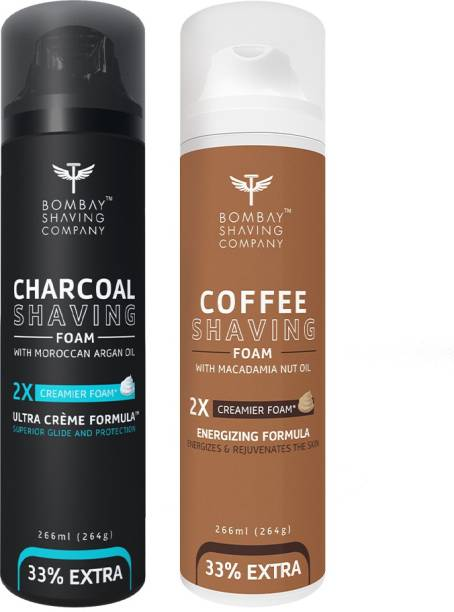 BOMBAY SHAVING COMPANY Activated Charcoal Shaving Foam with Argan Oil and 2X Creamier Formulae for Superior Glide and Protection 266 ml (33% Extra) (266 ml) & Coffee Shaving Foam with Coffee Extracts, Nut Oil, Olive Oil and 2X Creamier Formulae for Superior Glide and Protection 266 ml (33% Extra) (266 g)