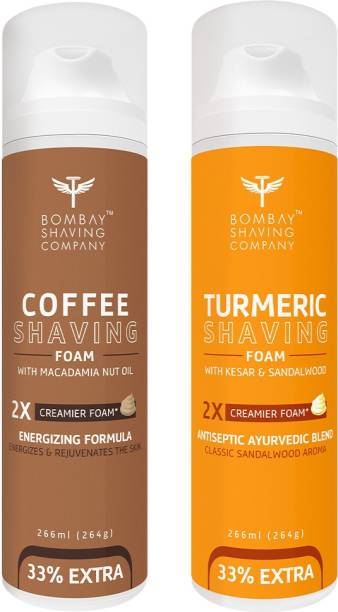 BOMBAY SHAVING COMPANY Turmeric Shaving Foam with Turmeric, Sandalwood, Kesar and 2X Creamier Formulae for Superior Glide and Protection 266 ml (33% Extra) (266 g) & Coffee Shaving Foam with Coffee Extracts, Nut Oil, Olive Oil and 2X Creamier Formulae for Superior Glide and Protection 266 ml (33% Extra) (266 g)