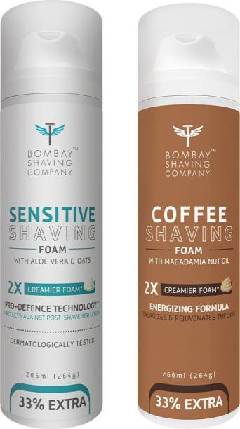 BOMBAY SHAVING COMPANY Sensitive Shaving Foam with Aloe Vera, Oats, Menthol and 2X Creamier Formulae for Superior Glide and Protection 266 ml (33% Extra) (266 g) & Coffee Shaving Foam with Coffee Extracts, Nut Oil, Olive Oil and 2X Creamier Formulae for Superior Glide and Protection 266 ml (33% Extra) (266 g)
